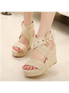 Woven Buckle Strappy Wedge Heel Women's Espadrille Sandals