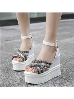 PU Peep Toe Ankle Strap Wedge Heel Women's Sandals