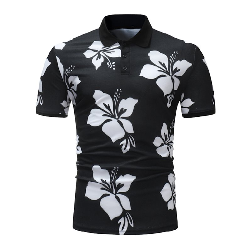 Tidebuy Floral Print Slim Fit Mens Polo