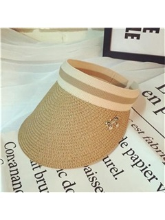Stripe Decorated Visor Crown Beach Straw Hat  1