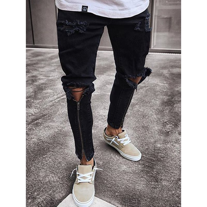 Tidebuy Hole Zipper Mens Black Skinny Ripped Jeans