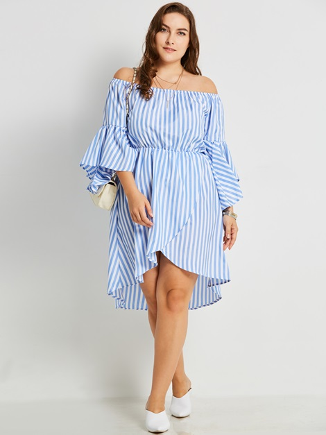 Backless Polyester Stripe Women's Casual Dress