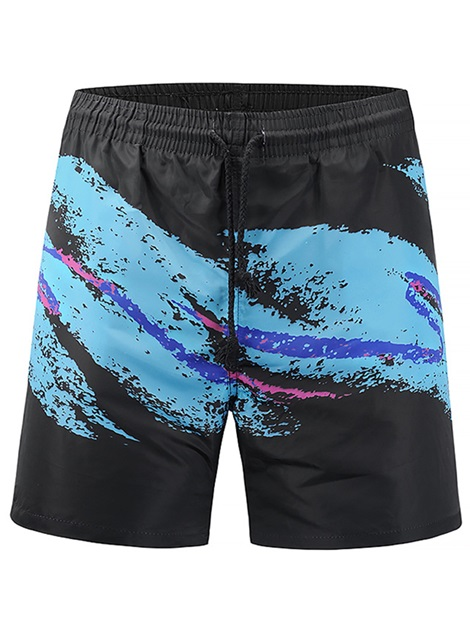 Doodling Elastic Lace Up Men's Beach Bottoms