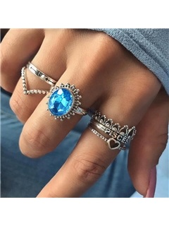 New Style Sapphire Shape 6-Pcs Joint Rings