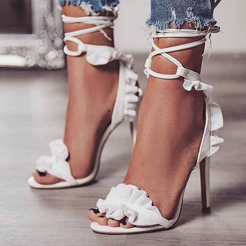 PU Lace-Up Stiletto Heel Womens Sandals