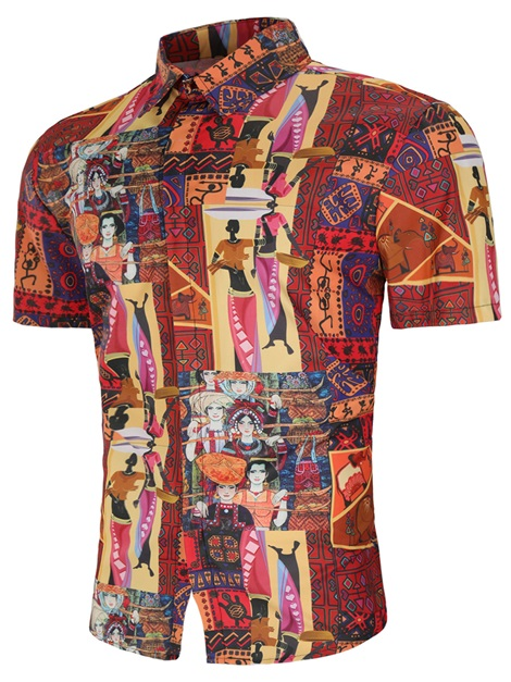 Tidebuy Dashiki Ethnic Short Sleeve Men's Shirt