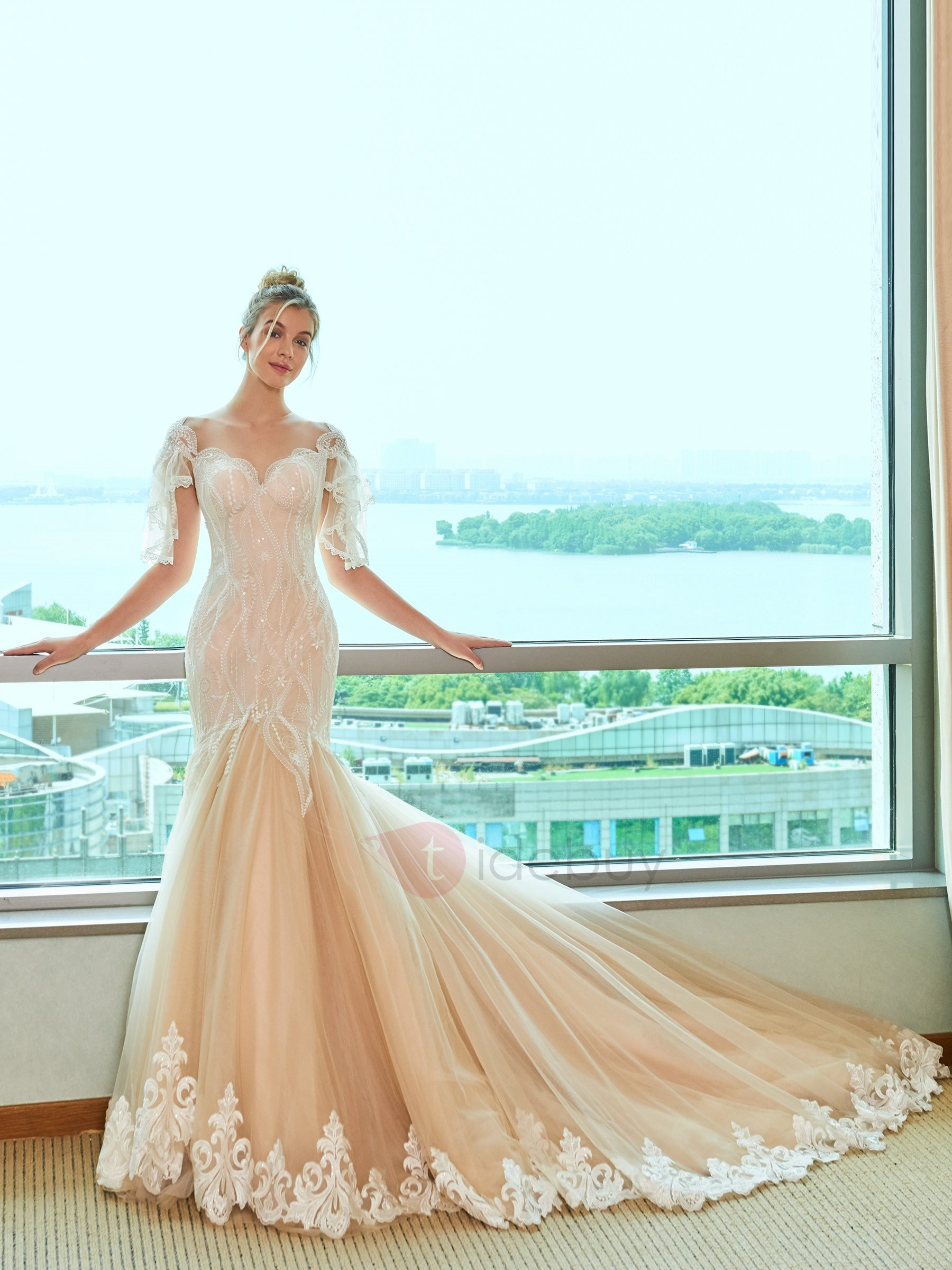 Illusion Neck Lace Mermaid Wedding Dress : Tidebuy.com