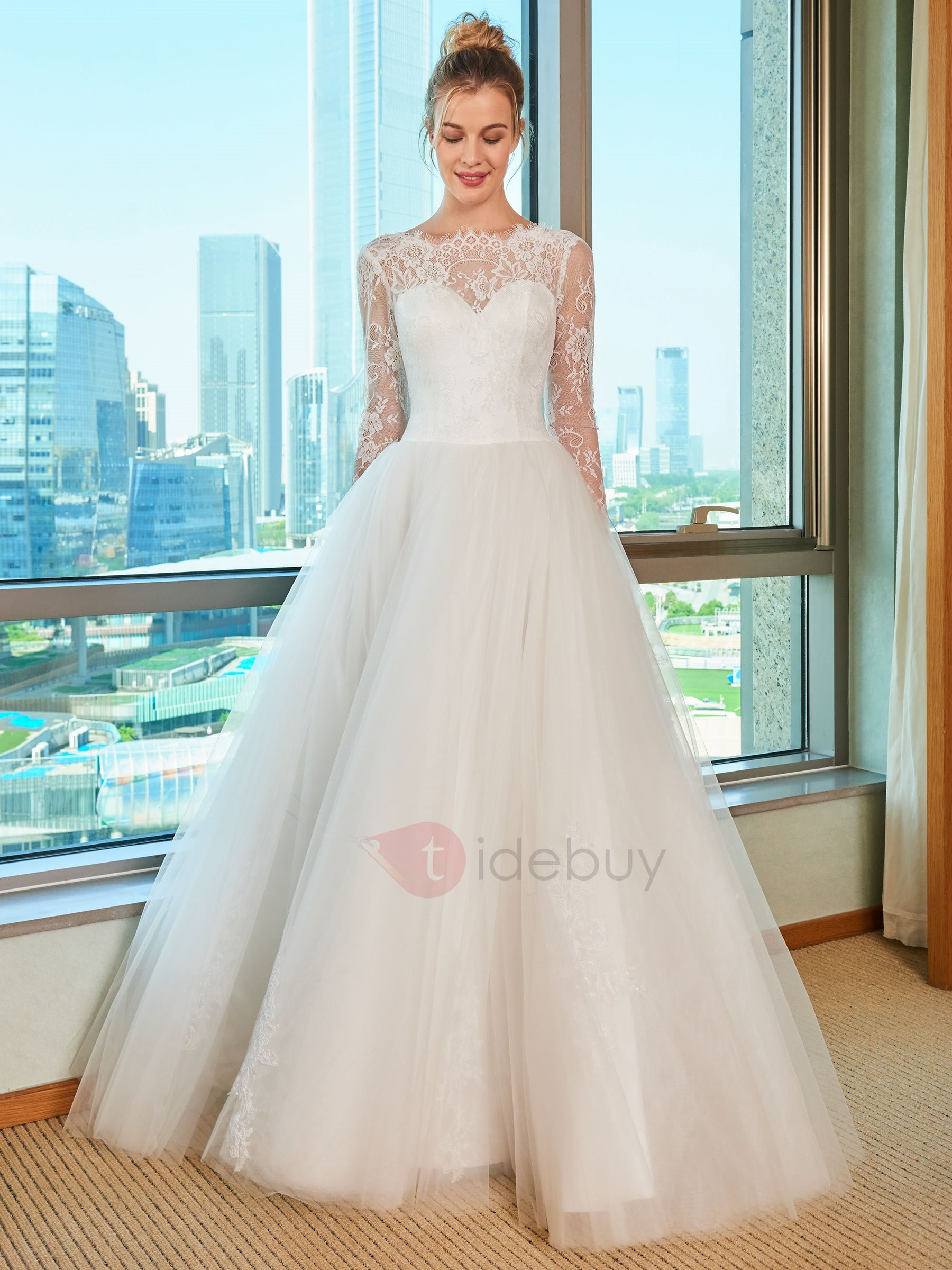 A-Line Lace Wedding Dress with Long Sleeve : Tidebuy.com