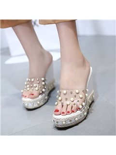 PVC Beads Platform Wedge Heel Women's Espadrille Sandals