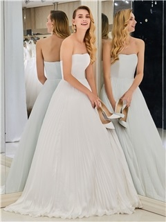 A-Line Strapless Pleats Beach Wedding Dress