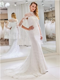High Neck Mermaid Lace Wedding Dress