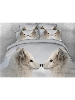 3D Two White Wolves Kissing Printed 4-Piece Bedding Sets/Duvet Covers