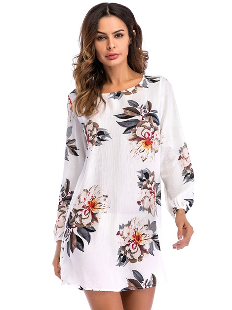 Tidebuy Backless Lace-Up Floral Women's Casual Dress