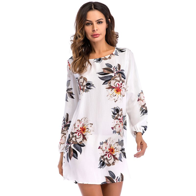 Tidebuy Backless Lace-Up Floral Womens Casual Dress