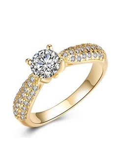 Dazzling All Match Rhinestone Copper Plated Party Ring