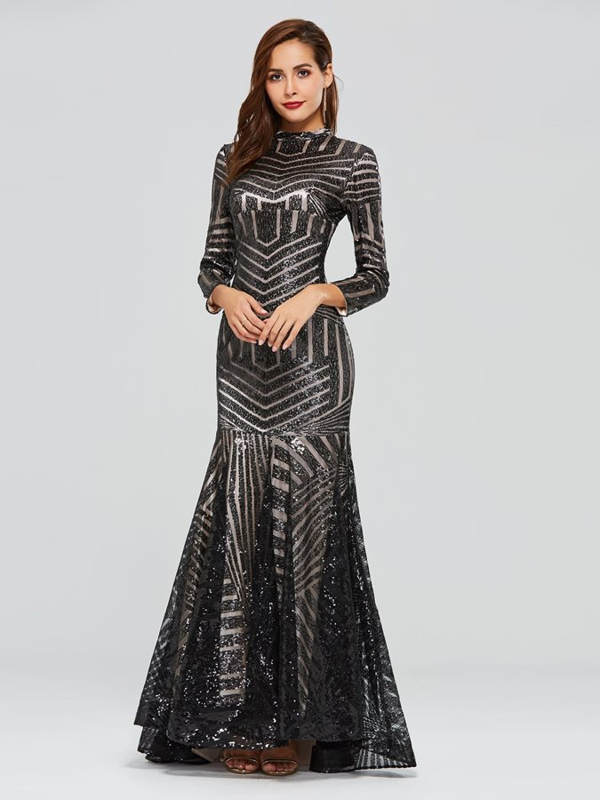 Trumpet Long Sleeves High Neck Sequins Evening Dress 2019
