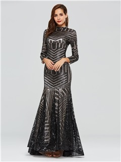Trumpet Long Sleeves High Neck Sequins Evening Dress 2019 7