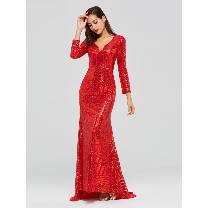 Mermaid Long Sleeves Sequins V-Neck Evening Dress