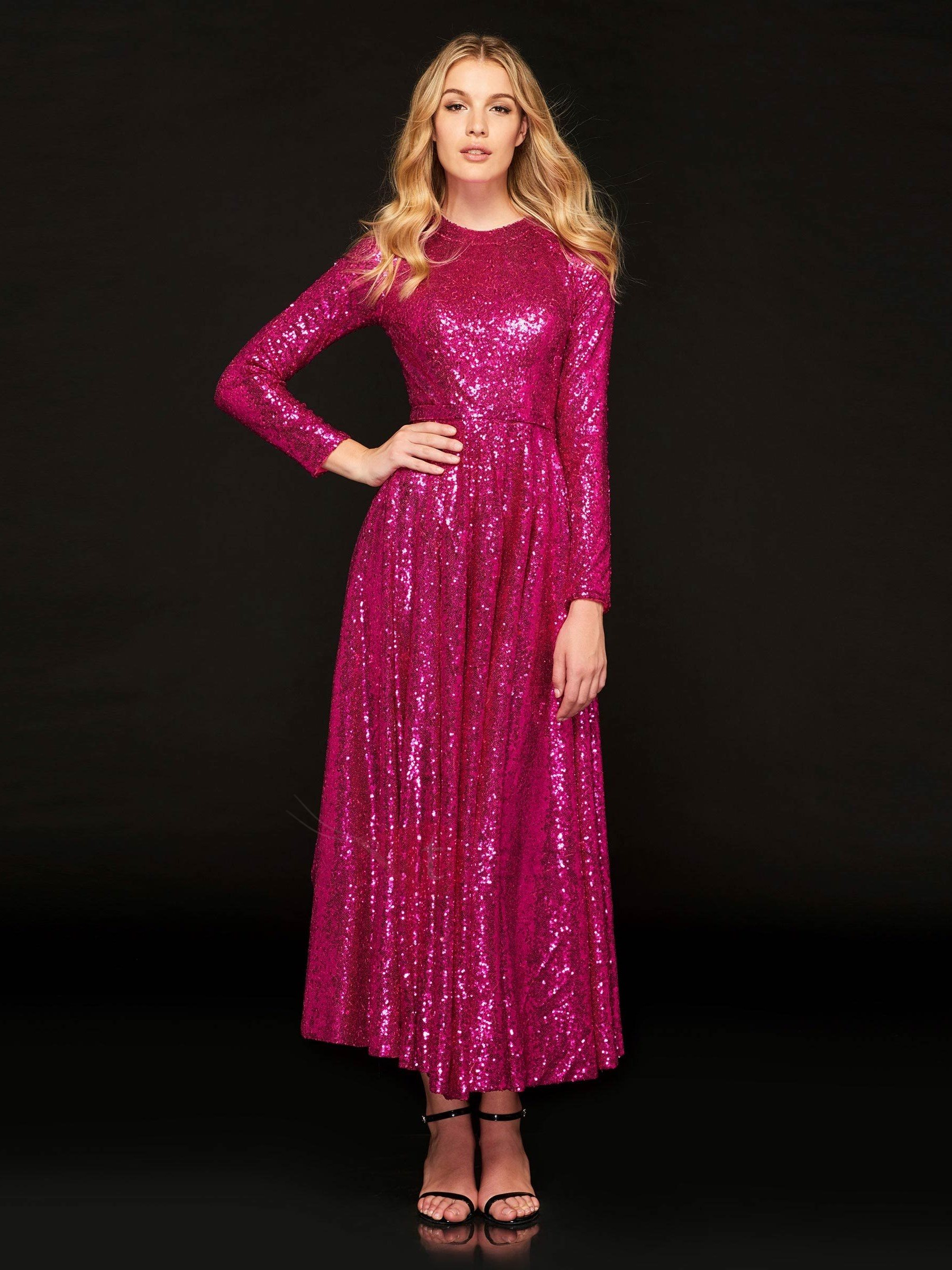 A-Line Jewel Sequins Prom Dress
