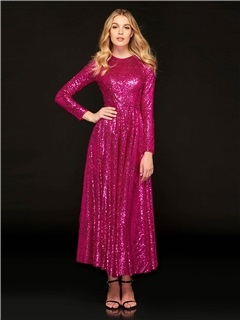 A-Line Jewel Sequins Prom Dress 1