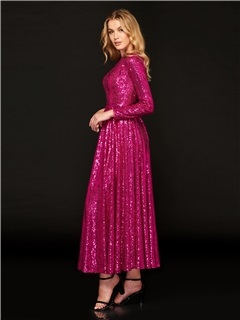 Jewel Neck Long Sleeves Sequins Prom Dress 1