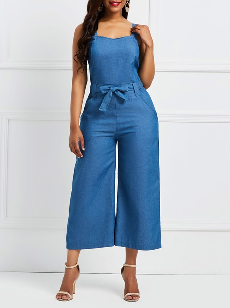Denim Backless Pocket Women's Jumpsuit