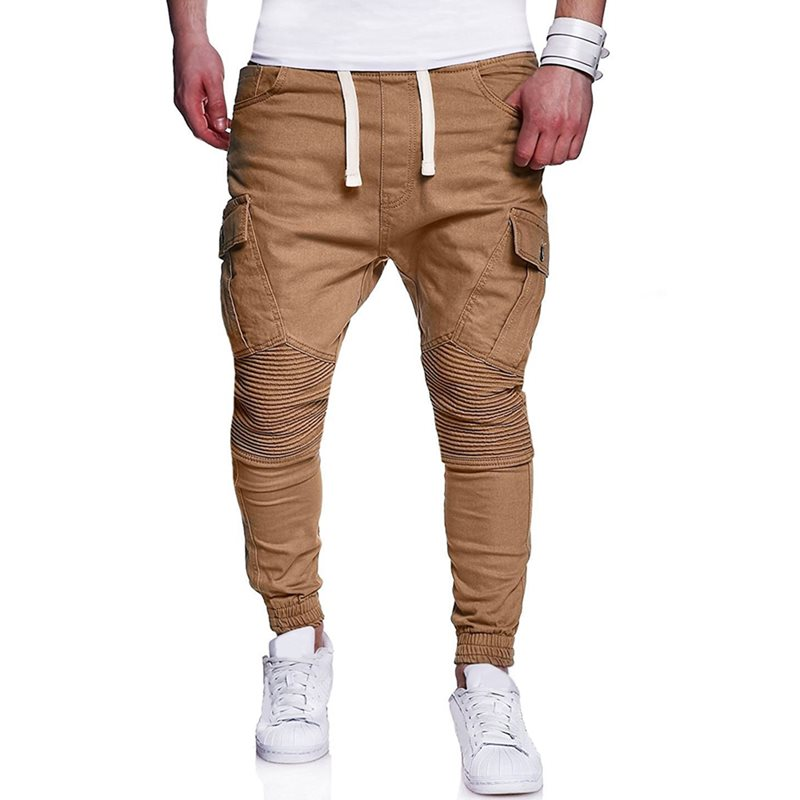 Tidebuy Plain Lace-Up Pocket Straight Mens Casual Pants