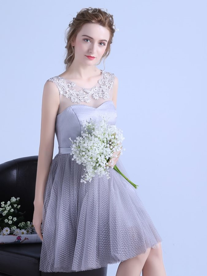 A-Line Appliques Sashes Mini Scoop Homecoming Dress