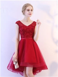 A-Line V-Neck Lace High Low Homecoming Dress 1