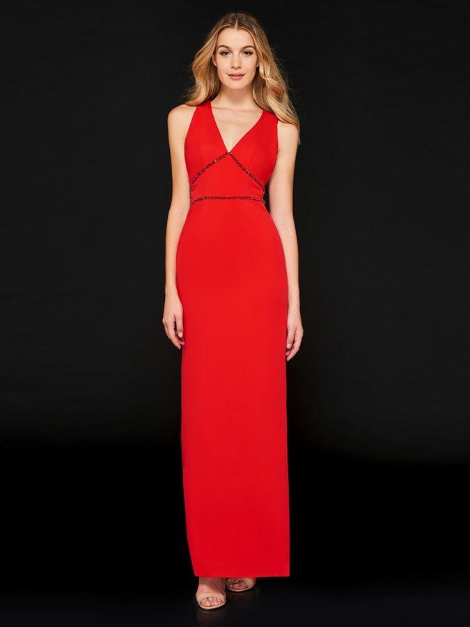 Sheath V-Neck Bowknot Long Evening Dress
