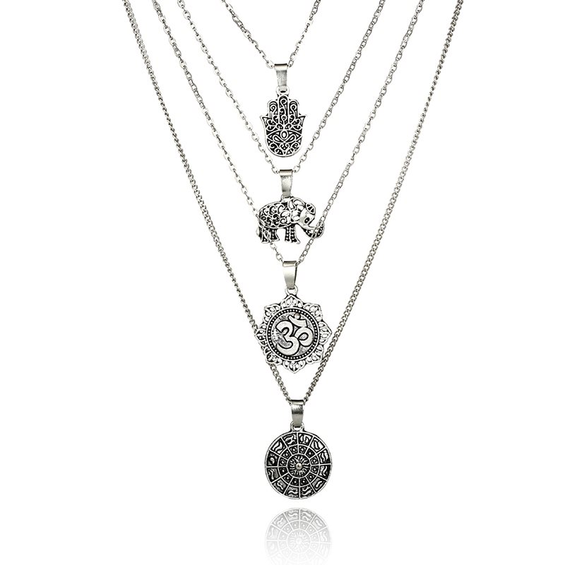 New In Antique Silver Multi-Layer Pendent Necklace