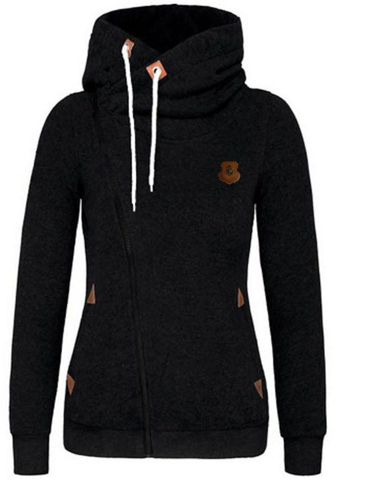 Zipper Lace-up Womens Hoodie