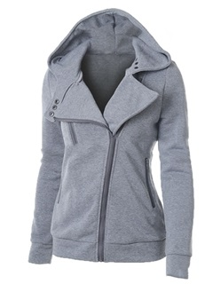 Lapel Zipper Plain Women's Hoodie 1