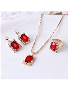 Square Ruby Embellished Three-Piece Party Jewelry Sets 7