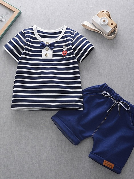Baby Boy's Stripe T-Shirt And Solid Color Shorts