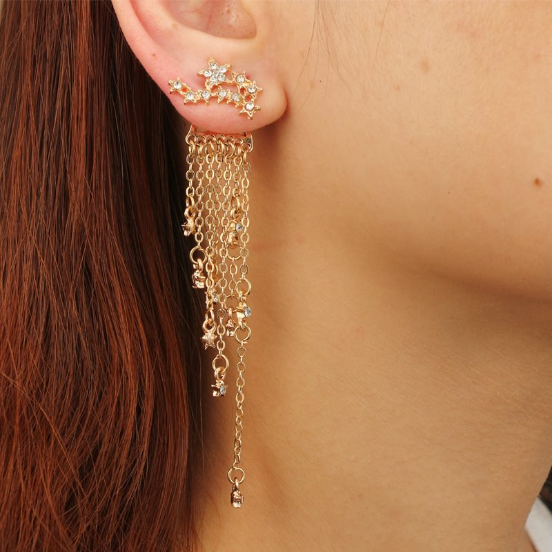 Star Tassel Design Personalized Stud Earrings