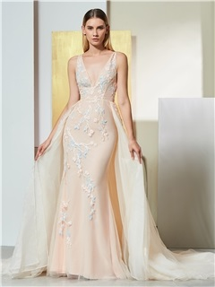 Mermaid Embroidery Appliques Watteau Train Evening Dress 5