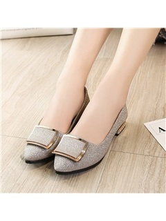 PU Pointed Toe Block Heel Slip-On Women's Flats