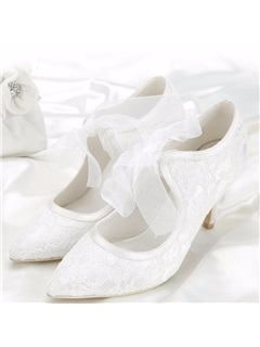 Lace Pointed Toe Stiletto Heel Wedding Shoes