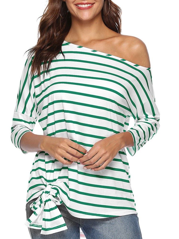 Stripe Inclined Shoulder Mid-Length Womens T-Shirt