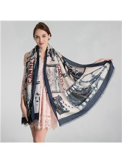 Hot Sale Pure Cotton Painting Print Warm Pre-Fall Scarf 2