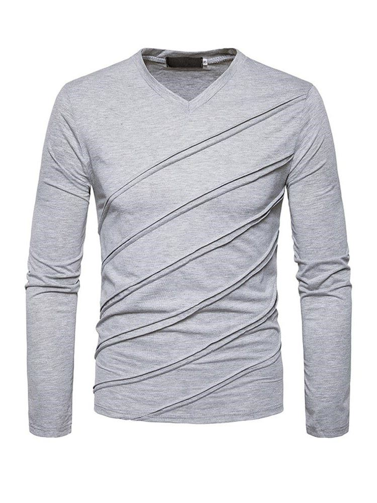 Tidebuy V-Neck Pleated Long Sleeve Mens Casual T-Shirt