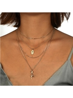 Sweet Rose Shape Metal Gold Layered Necklace 1
