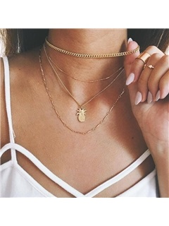 Pineapple Shape Pendant Metal Gold Layered Necklace 1