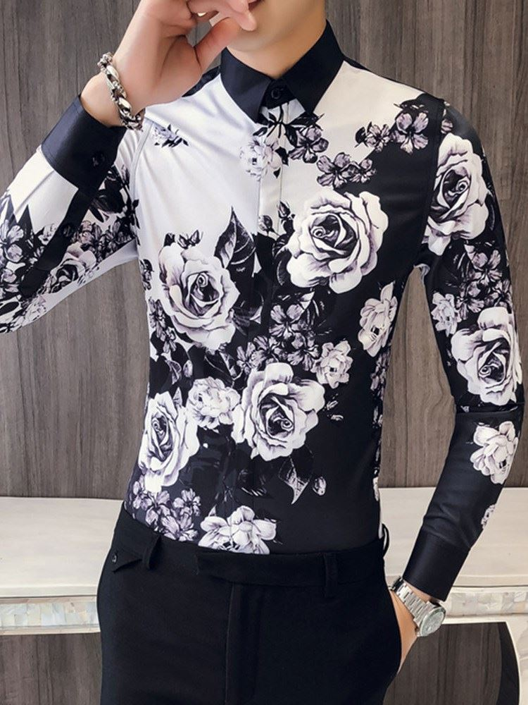 Lapel Color Block Floral Mens Slim Shirt