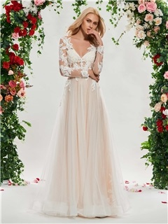 V-Neck Appliques Wedding Dress with Long Sleeve 3