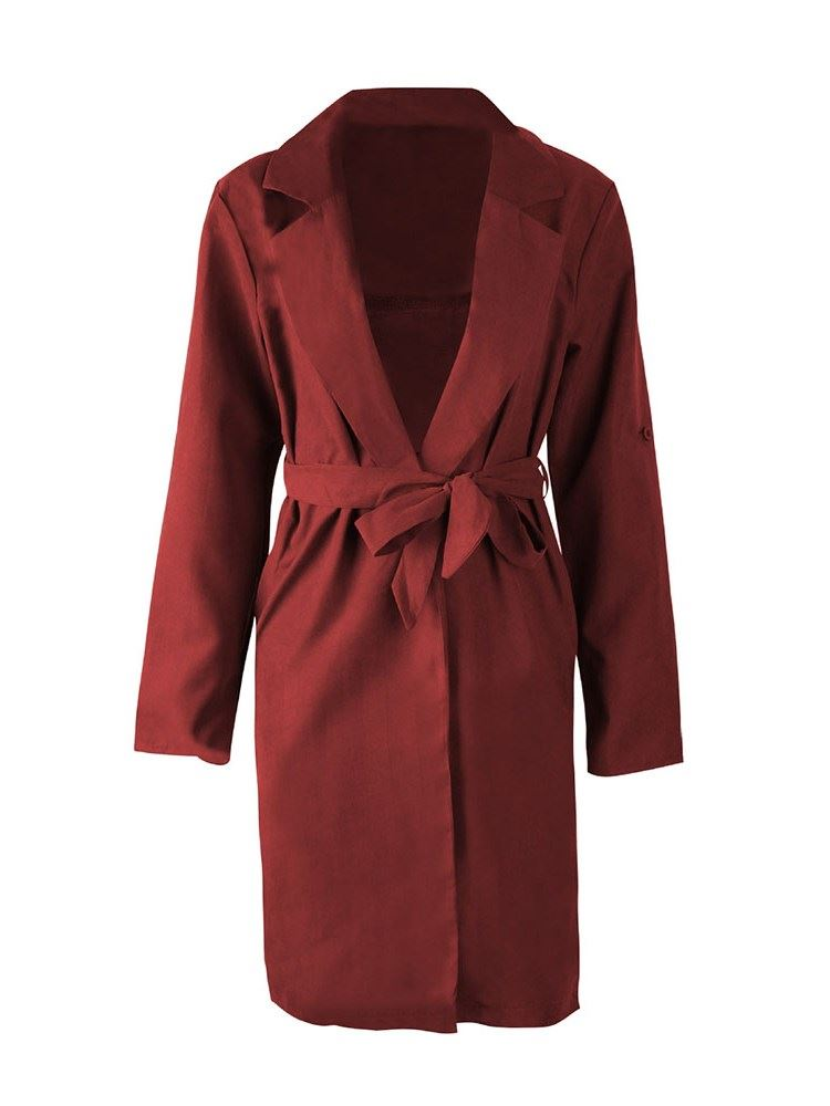 Lace-Up Plain Polyester Womens Long Trench Coat