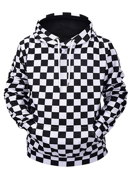 Hooded Plaid Loose Men's Pullover Hoodie