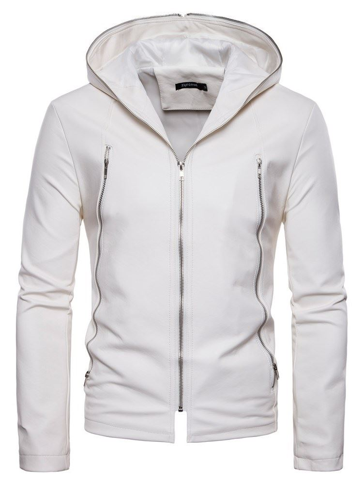Hooded Plain Zipper Mens Leather Jacket