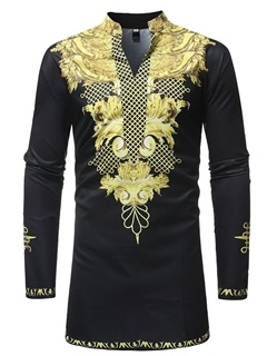 Black Dashiki African Fashion Print V-Neck Men's Long Shirt 6